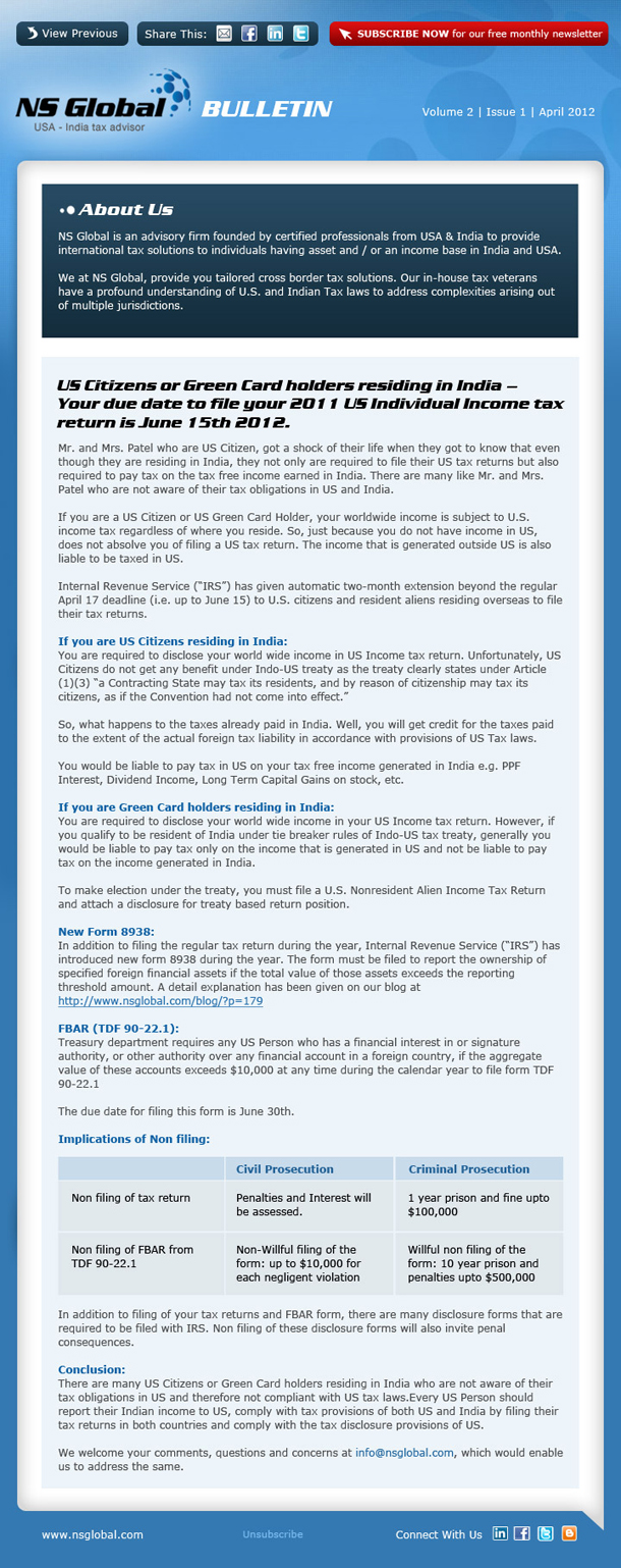 Newsletter - April 2012