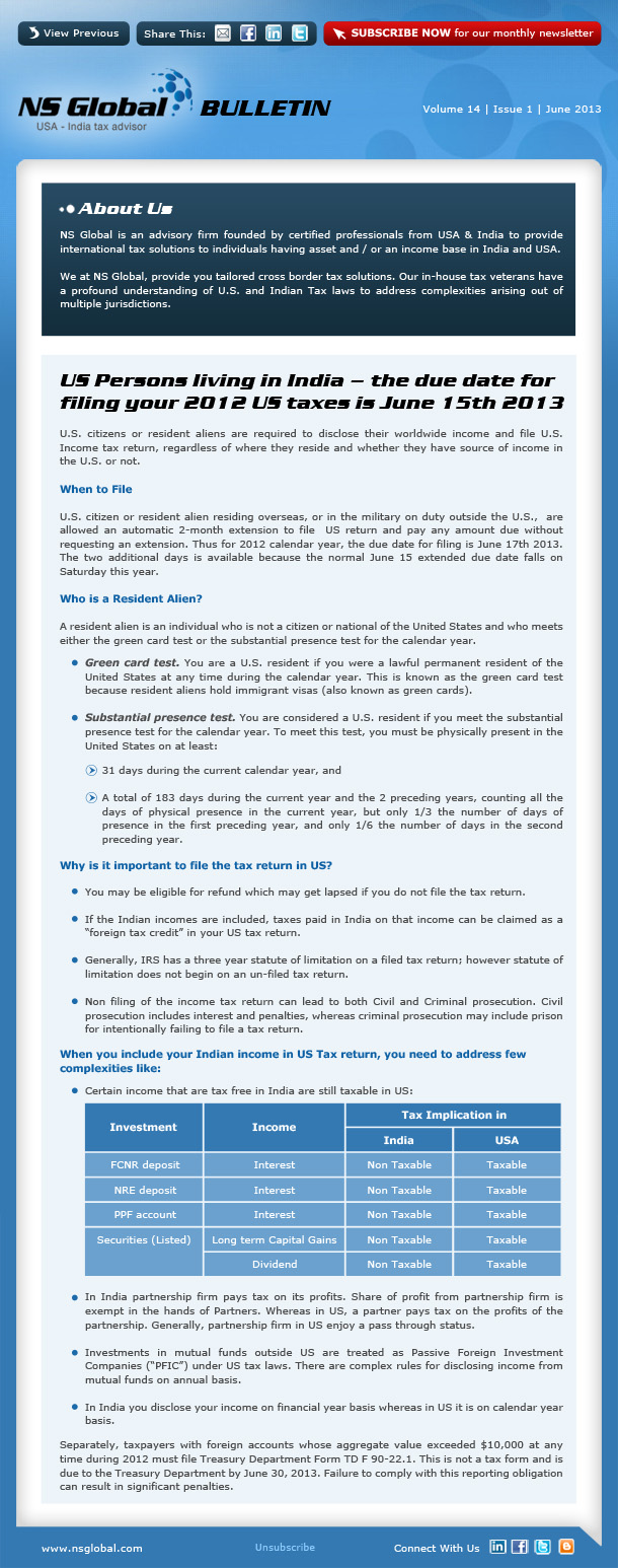 Newsletter - June 2013